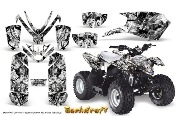Polaris Outlaw Predator 50 Graphics Kit Backdraft White 570x376 - Polaris Predator 50 Graphics