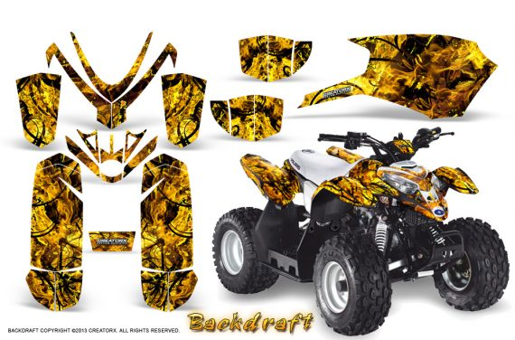 Polaris Outlaw Predator 50 Graphics Kit Backdraft Yellow 570x376 - Polaris Predator 50 Graphics