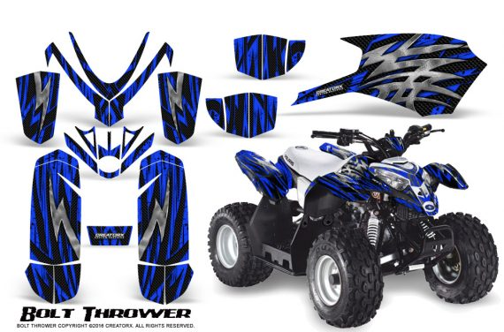 Polaris Outlaw Predator 50 Graphics Kit Bolt Thrower Blue 1 570x376 - Polaris Outlaw 50 Graphics