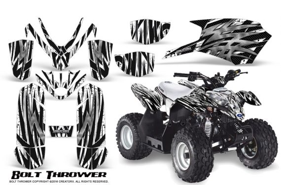 Polaris Outlaw Predator 50 Graphics Kit Bolt Thrower White 1 570x376 - Polaris Outlaw 50 Graphics