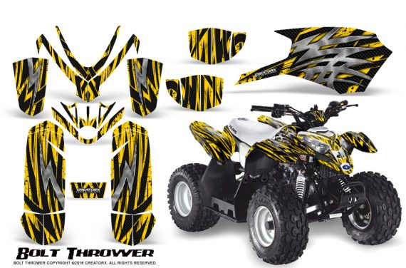 Polaris Outlaw Predator 50 Graphics Kit Bolt Thrower Yellow 1 570x376 - Polaris Outlaw 50 Graphics