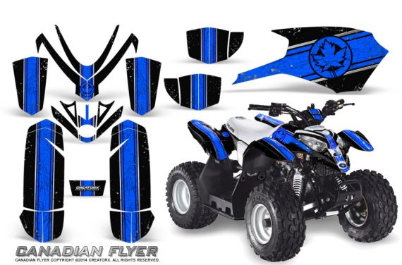 Polaris Outlaw Predator 50 Graphics Kit Canadian Flyer Blue Black 1 570x376 - Polaris Outlaw 50 Graphics