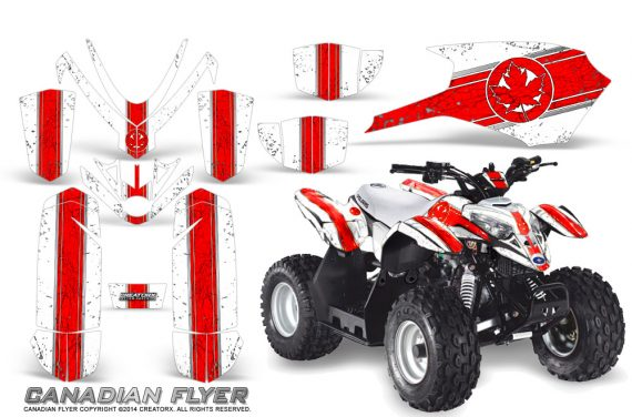 Polaris Outlaw Predator 50 Graphics Kit Canadian Flyer Red White 1 570x376 - Polaris Outlaw 50 Graphics