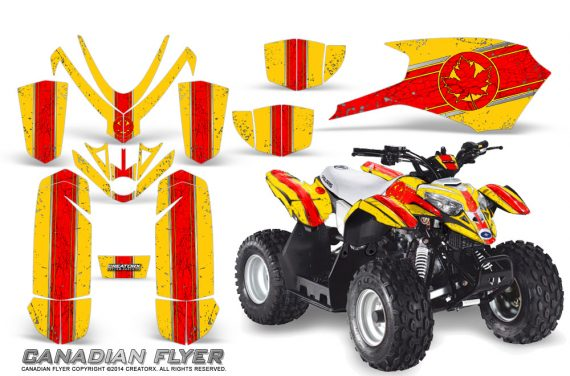 Polaris Outlaw Predator 50 Graphics Kit Canadian Flyer Red Yellow 1 570x376 - Polaris Outlaw 50 Graphics