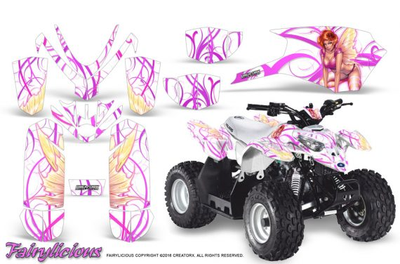 Polaris Outlaw Predator 50 Graphics Kit Fairylicious Pink White 570x376 - Polaris Predator 50 Graphics