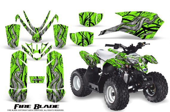Polaris Outlaw Predator 50 Graphics Kit Fire Blade Green 570x376 - Polaris Predator 50 Graphics