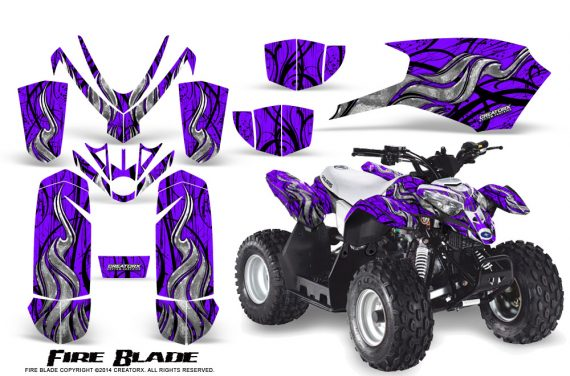 Polaris Outlaw Predator 50 Graphics Kit Fire Blade Purple 570x376 - Polaris Predator 50 Graphics