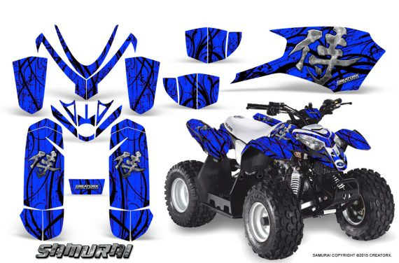 Polaris Outlaw Predator 50 Graphics Kit Samurai Black Blue 1 570x376 - Polaris Outlaw 50 Graphics