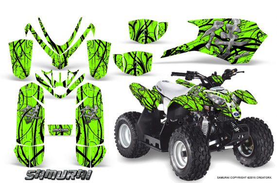 Polaris Outlaw Predator 50 Graphics Kit Samurai Black Green 570x376 - Polaris Predator 50 Graphics