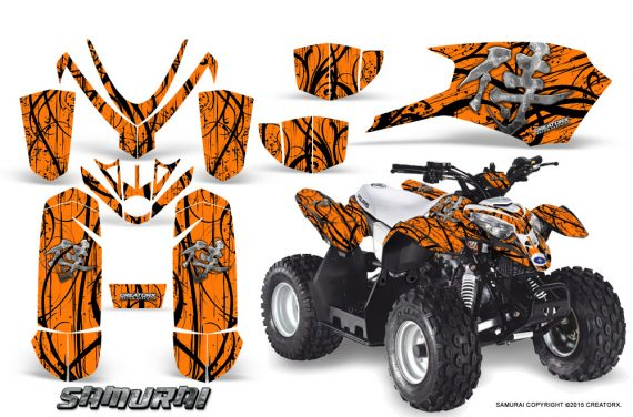 Polaris Outlaw Predator 50 Graphics Kit Samurai Black Orange 1 570x376 - Polaris Outlaw 50 Graphics