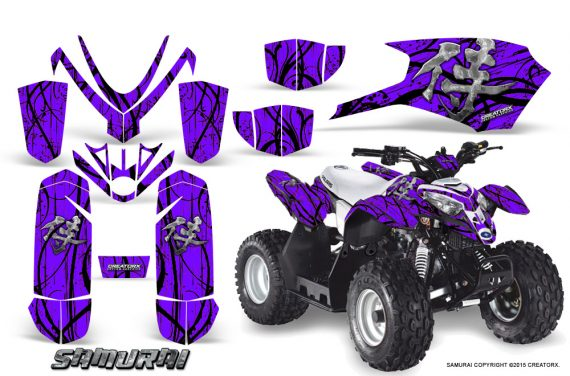 Polaris Outlaw Predator 50 Graphics Kit Samurai Black Purple 1 570x376 - Polaris Outlaw 50 Graphics