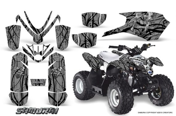 Polaris Outlaw Predator 50 Graphics Kit Samurai Black Silver 570x376 - Polaris Predator 50 Graphics