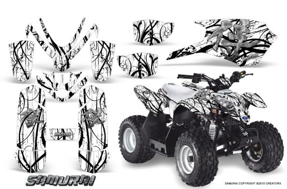 Polaris Outlaw Predator 50 Graphics Kit Samurai Black White 1 570x376 - Polaris Outlaw 50 Graphics