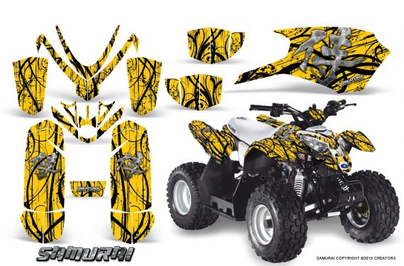 Polaris Outlaw Predator 50 Graphics Kit Samurai Black Yellow 1 570x376 - Polaris Outlaw 50 Graphics