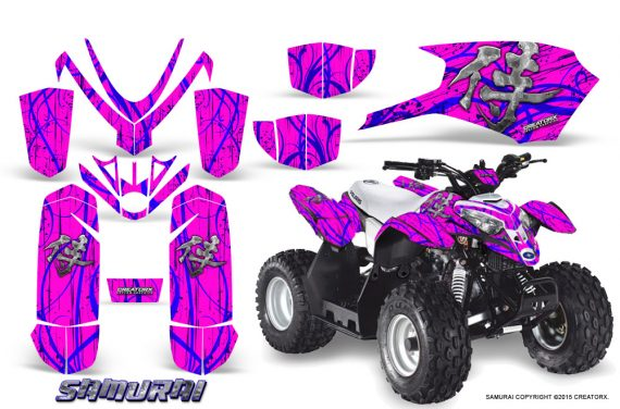 Polaris Outlaw Predator 50 Graphics Kit Samurai Blue Pink 570x376 - Polaris Predator 50 Graphics
