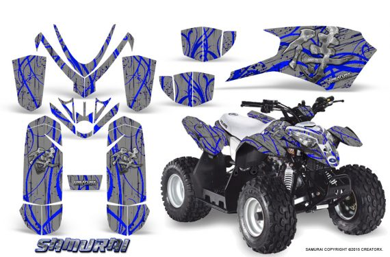 Polaris Outlaw Predator 50 Graphics Kit Samurai Blue Silver 1 570x376 - Polaris Outlaw 50 Graphics