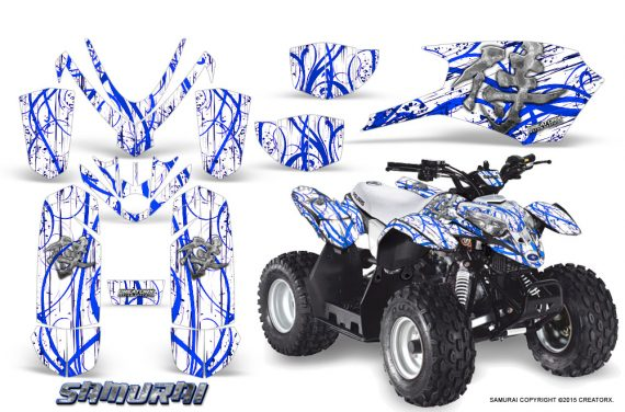 Polaris Outlaw Predator 50 Graphics Kit Samurai Blue White 570x376 - Polaris Predator 50 Graphics