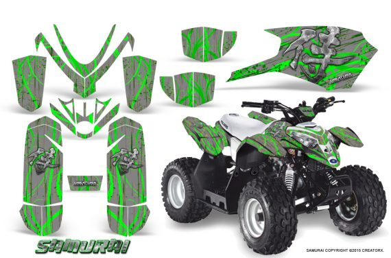 Polaris Outlaw Predator 50 Graphics Kit Samurai Green Silver 1 570x376 - Polaris Outlaw 50 Graphics