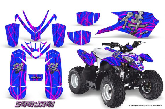 Polaris Outlaw Predator 50 Graphics Kit Samurai Pink Blue 1 570x376 - Polaris Outlaw 50 Graphics