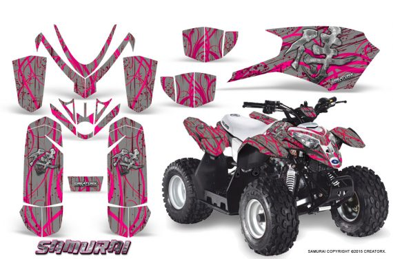 Polaris Outlaw Predator 50 Graphics Kit Samurai Pink Silver 570x376 - Polaris Predator 50 Graphics