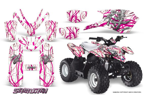 Polaris Outlaw Predator 50 Graphics Kit Samurai Pink White 1 570x376 - Polaris Outlaw 50 Graphics