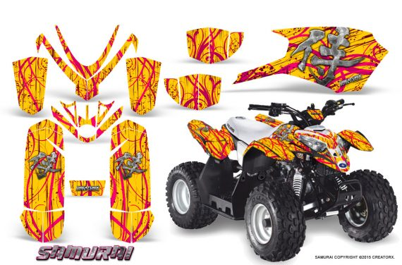 Polaris Outlaw Predator 50 Graphics Kit Samurai Pink Yellow 570x376 - Polaris Predator 50 Graphics