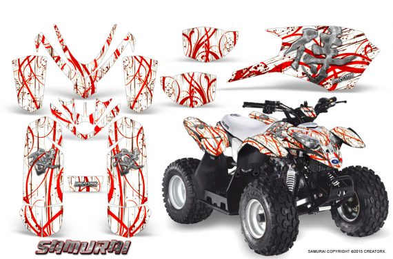Polaris Outlaw Predator 50 Graphics Kit Samurai Red White 1 570x376 - Polaris Outlaw 50 Graphics