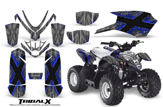 Polaris Outlaw Predator 50 Graphics Kit TribalX Blue Silver 570x376 - Polaris Predator 50 Graphics