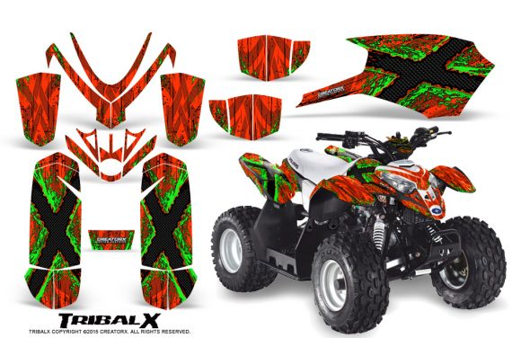 Polaris Outlaw Predator 50 Graphics Kit TribalX Green Red 1 570x376 - Polaris Outlaw 50 Graphics