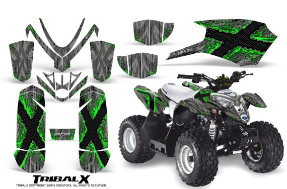 Polaris Outlaw Predator 50 Graphics Kit TribalX Green Silver 1 570x376 - Polaris Outlaw 50 Graphics