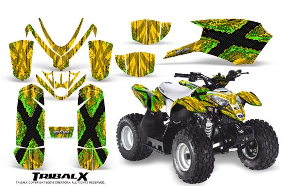 Polaris Outlaw Predator 50 Graphics Kit TribalX Green Yellow 570x376 - Polaris Predator 50 Graphics