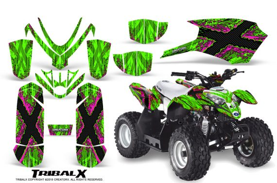 Polaris Outlaw Predator 50 Graphics Kit TribalX Pink Green 570x376 - Polaris Predator 50 Graphics