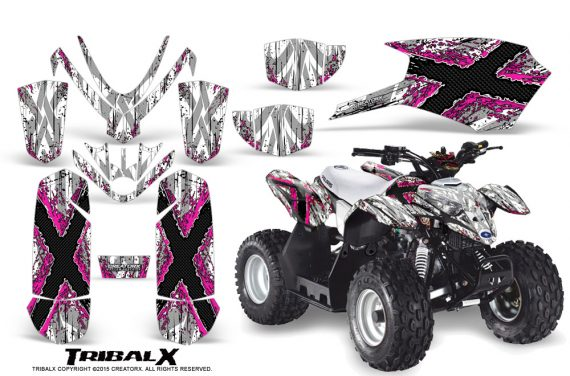 Polaris Outlaw Predator 50 Graphics Kit TribalX Pink White 570x376 - Polaris Predator 50 Graphics