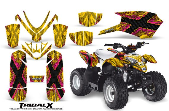 Polaris Outlaw Predator 50 Graphics Kit TribalX Pink Yellow 570x376 - Polaris Predator 50 Graphics