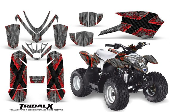 Polaris Outlaw Predator 50 Graphics Kit TribalX Red Silver 570x376 - Polaris Predator 50 Graphics