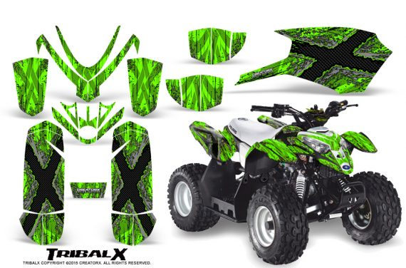Polaris Outlaw Predator 50 Graphics Kit TribalX Silver Green 570x376 - Polaris Predator 50 Graphics