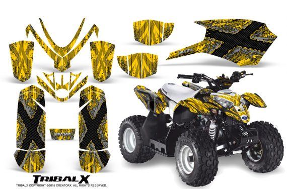 Polaris Outlaw Predator 50 Graphics Kit TribalX Silver Yellow 570x376 - Polaris Predator 50 Graphics