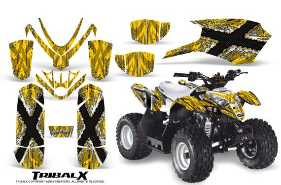Polaris Outlaw Predator 50 Graphics Kit TribalX White Yellow 570x376 - Polaris Predator 50 Graphics