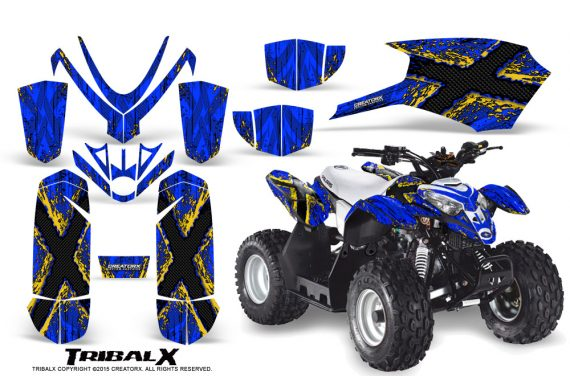 Polaris Outlaw Predator 50 Graphics Kit TribalX Yellow Blue 570x376 - Polaris Predator 50 Graphics