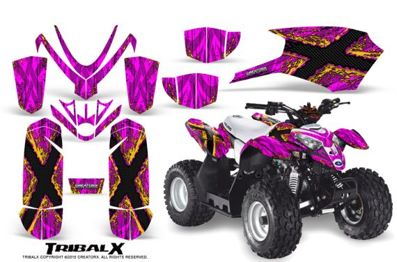 Polaris Outlaw Predator 50 Graphics Kit TribalX Yellow Pink 570x376 - Polaris Predator 50 Graphics