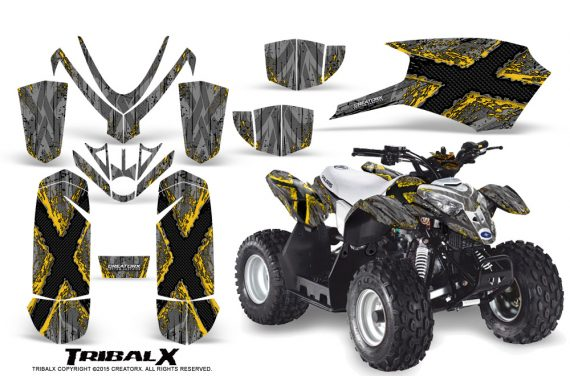 Polaris Outlaw Predator 50 Graphics Kit TribalX Yellow Silver 570x376 - Polaris Predator 50 Graphics
