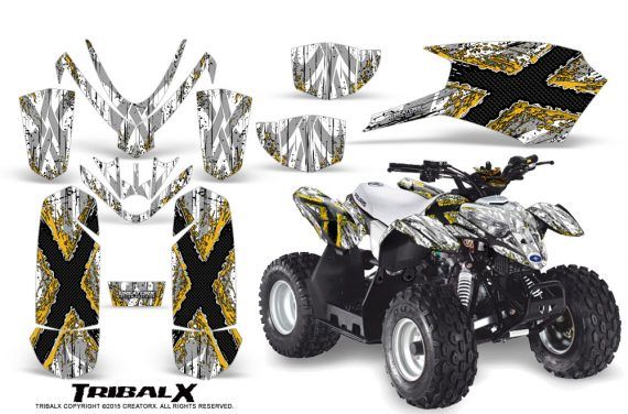Polaris Outlaw Predator 50 Graphics Kit TribalX Yellow White 570x376 - Polaris Outlaw 50 Graphics