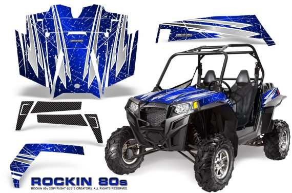 RZR 900 2011 CreatorX Graphics Kit Rockin 80s Blue 570x376 - Polaris RZR 900 XP UTV 2011-2014 Graphics