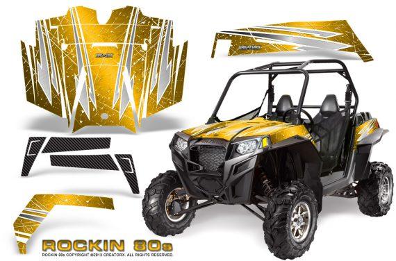 RZR 900 2011 CreatorX Graphics Kit Rockin 80s Yellow 570x376 - Polaris RZR 900 XP UTV 2011-2014 Graphics