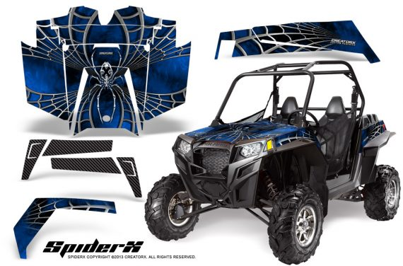 RZR 900 2011 CreatorX Graphics Kit SpiderX Blue 570x376 - Polaris RZR 900 XP UTV 2011-2014 Graphics