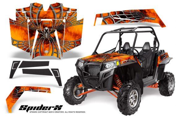 RZR 900 2011 CreatorX Graphics Kit SpiderX Orange 570x376 - Polaris RZR 900 XP UTV 2011-2014 Graphics