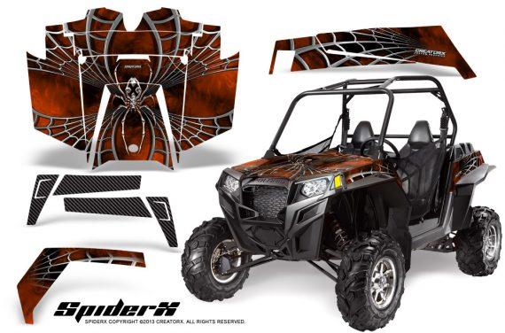 RZR 900 2011 CreatorX Graphics Kit SpiderX Orange Dark 570x376 - Polaris RZR 900 XP UTV 2011-2014 Graphics