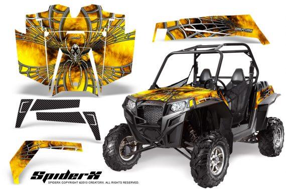 RZR 900 2011 CreatorX Graphics Kit SpiderX Yellow 570x376 - Polaris RZR 900 XP UTV 2011-2014 Graphics