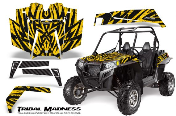 RZR 900 2011 CreatorX Graphics Kit Tribal Madness Yellow 570x376 - Polaris RZR 900 XP UTV 2011-2014 Graphics