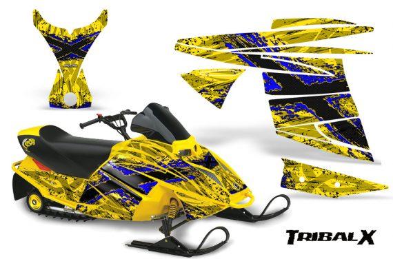Ski Doo MiniZ CreatorX Graphics Kit TribalX Blue Yellow 570x376 - Ski-Doo Mini Z Kids 2003-2008 Graphics